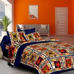 Cotton bedsheet Geometric Flat 144 TC Double